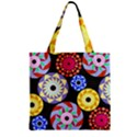 Colorful Retro Circular Pattern Zipper Grocery Tote Bag View1