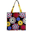 Colorful Retro Circular Pattern Zipper Grocery Tote Bag View2