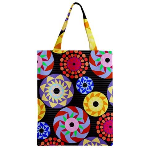 Colorful Retro Circular Pattern Zipper Classic Tote Bag