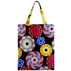 Colorful Retro Circular Pattern Zipper Classic Tote Bag