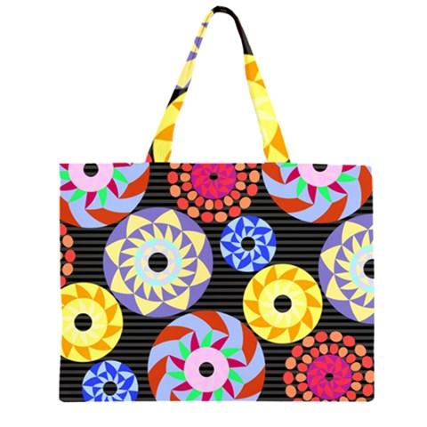 Colorful Retro Circular Pattern Large Tote Bag