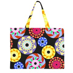 Colorful Retro Circular Pattern Large Tote Bag