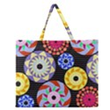 Colorful Retro Circular Pattern Zipper Large Tote Bag View1