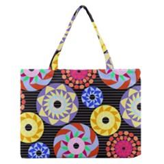 Colorful Retro Circular Pattern Medium Zipper Tote Bag