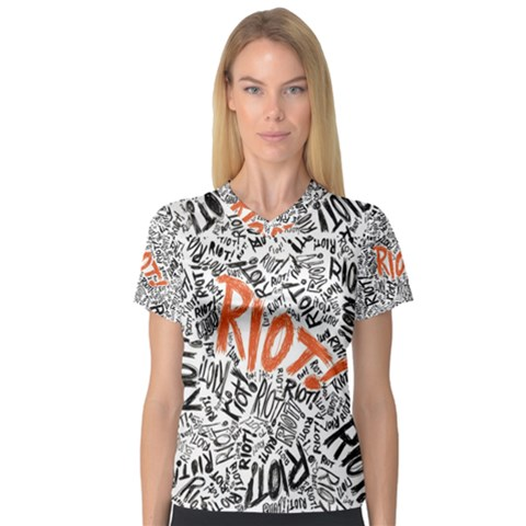 Paramore Is An American Rock Band Women s V-Neck Sport Mesh Tee