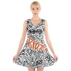 Paramore Is An American Rock Band V Neck Sleeveless Skater Dress