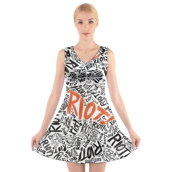 Paramore Is An American Rock Band V-Neck Sleeveless Skater Dress