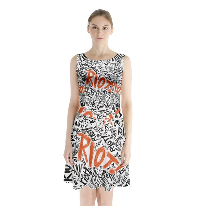 Paramore Is An American Rock Band Sleeveless Chiffon Waist Tie Dress