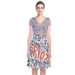 Paramore Is An American Rock Band Short Sleeve Front Wrap Dress