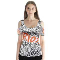 Paramore Is An American Rock Band Butterfly Sleeve Cutout Tee