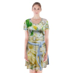 1 Kartoffelsalat Einmachglas 2 Short Sleeve V Neck Flare Dress