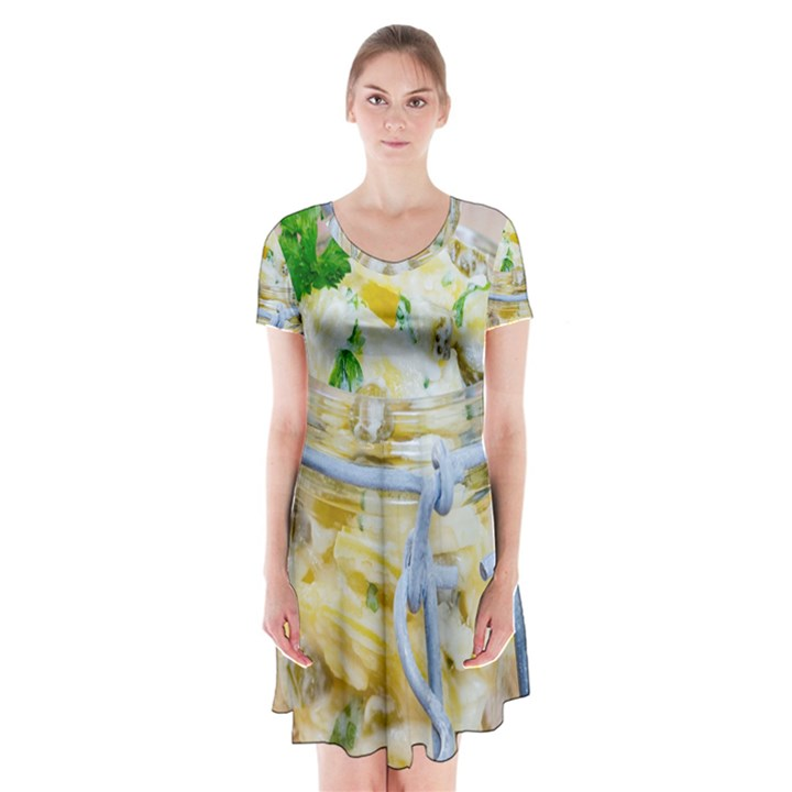 1 Kartoffelsalat Einmachglas 2 Short Sleeve V-neck Flare Dress