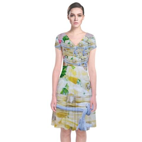 1 Kartoffelsalat Einmachglas 2 Short Sleeve Front Wrap Dress