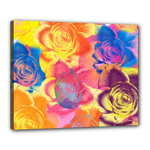 Pop Art Roses Canvas 20  x 16