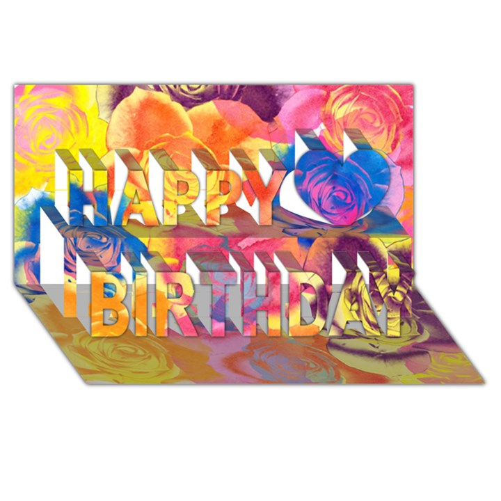 Pop Art Roses Happy Birthday 3D Greeting Card (8x4)
