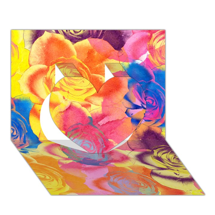 Pop Art Roses Heart 3D Greeting Card (7x5)