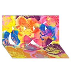 Pop Art Roses Twin Hearts 3D Greeting Card (8x4)