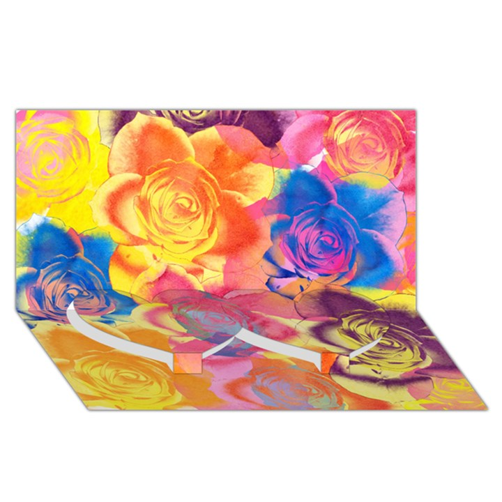 Pop Art Roses Twin Heart Bottom 3D Greeting Card (8x4)