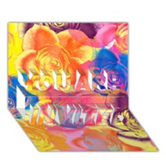 Pop Art Roses You Are Invited 3d Greeting Card (7x5)