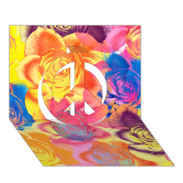 Pop Art Roses Peace Sign 3D Greeting Card (7x5)