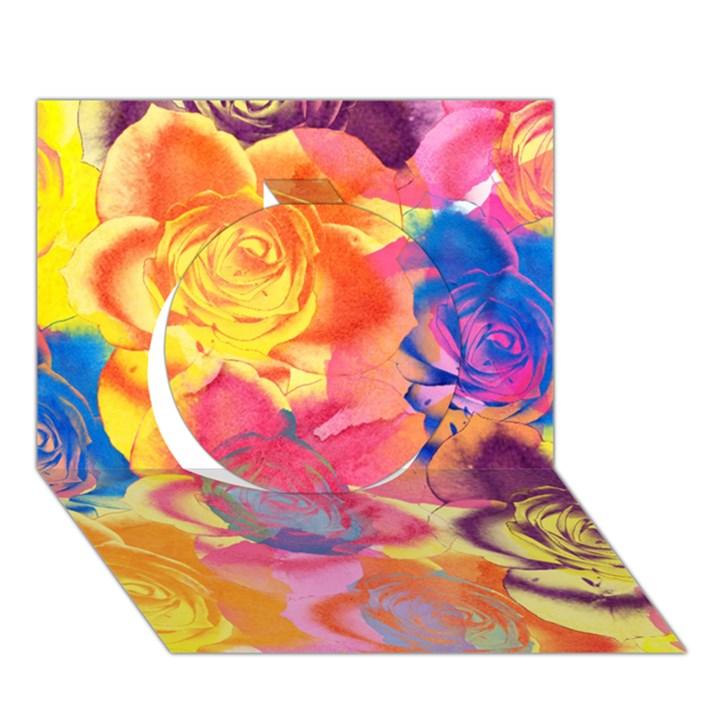 Pop Art Roses Circle 3D Greeting Card (7x5)