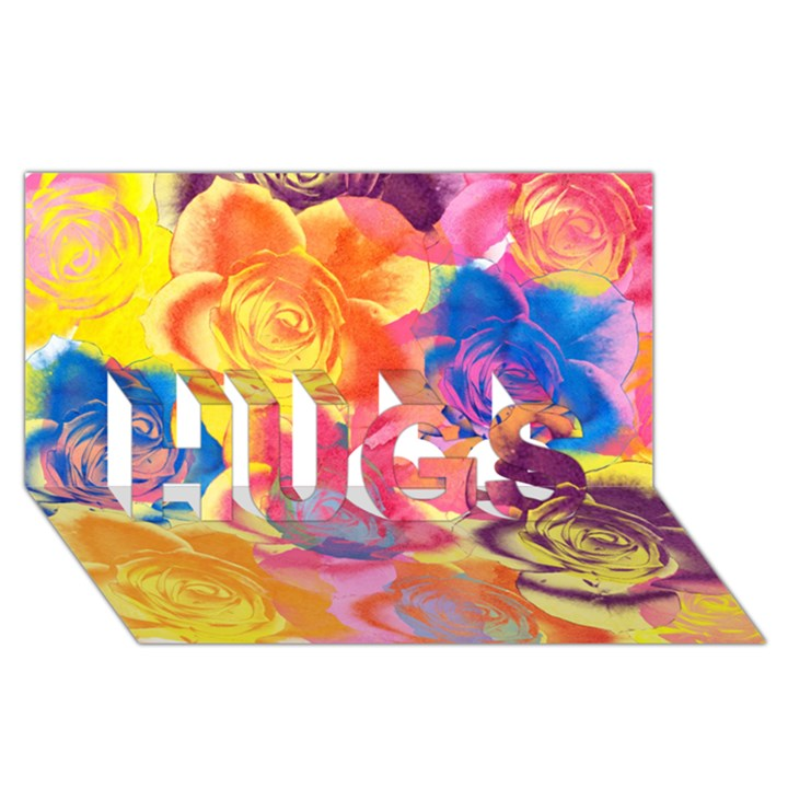 Pop Art Roses HUGS 3D Greeting Card (8x4)
