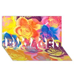 Pop Art Roses Engaged 3d Greeting Card (8x4)