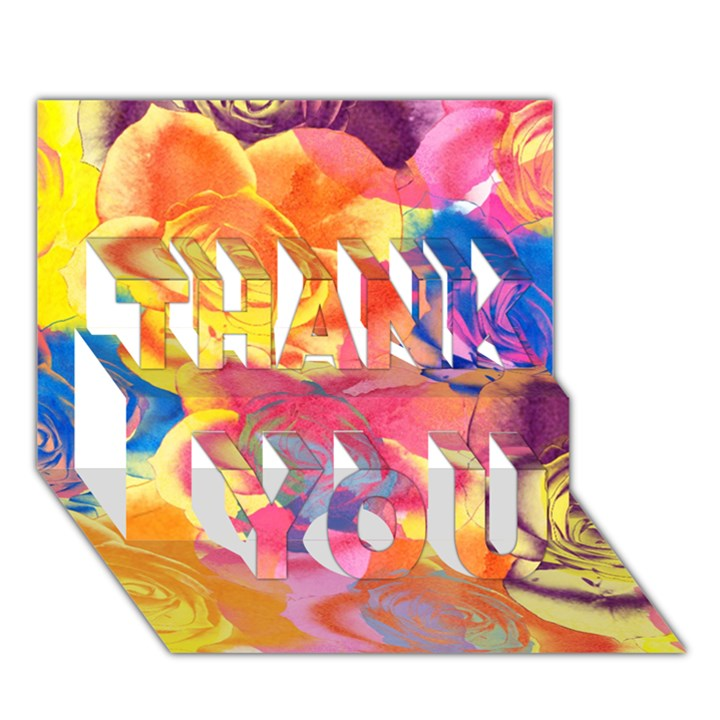 Pop Art Roses THANK YOU 3D Greeting Card (7x5)
