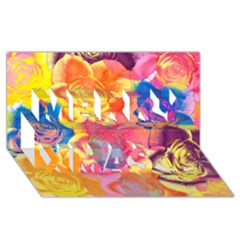 Pop Art Roses Merry Xmas 3D Greeting Card (8x4)