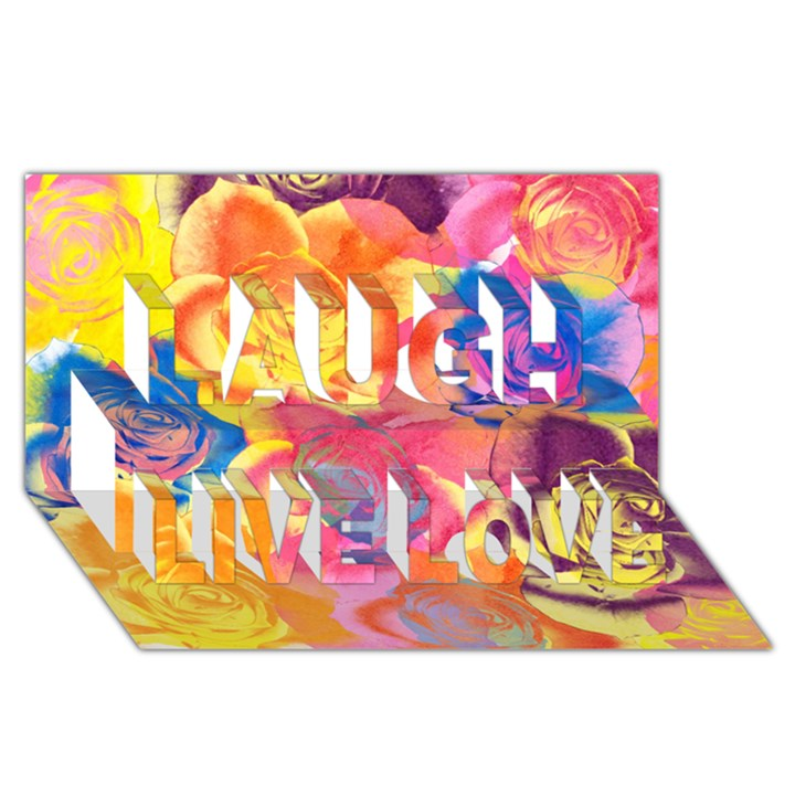 Pop Art Roses Laugh Live Love 3D Greeting Card (8x4)