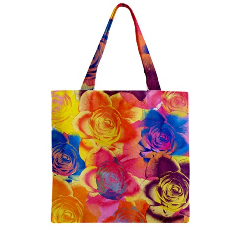 Pop Art Roses Zipper Grocery Tote Bag