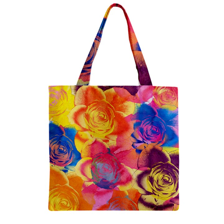 Pop Art Roses Zipper Grocery Tote Bag