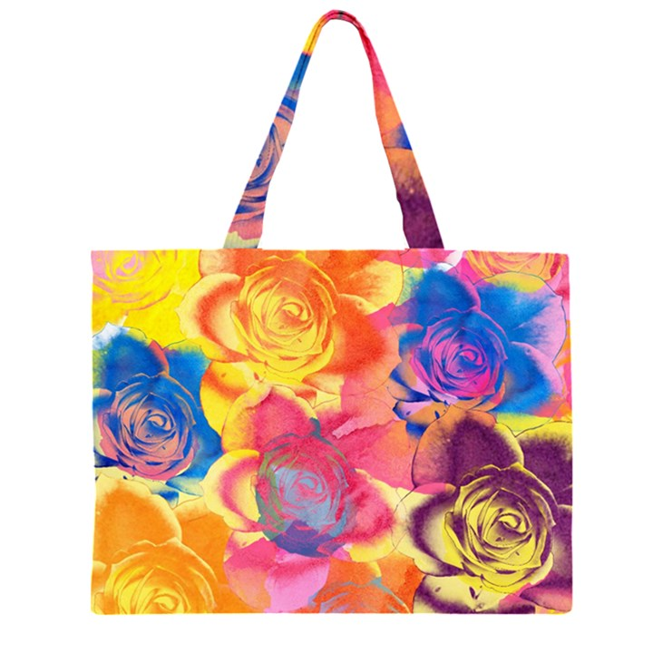 Pop Art Roses Large Tote Bag