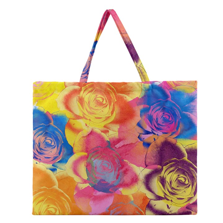 Pop Art Roses Zipper Large Tote Bag