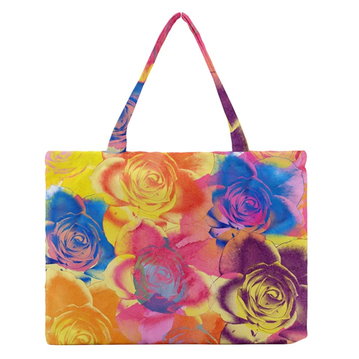 Pop Art Roses Medium Zipper Tote Bag