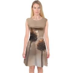 2  Verwelkte Kugeldistel Capsleeve Midi Dress