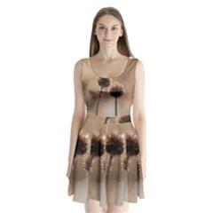 2  Verwelkte Kugeldistel Split Back Mini Dress