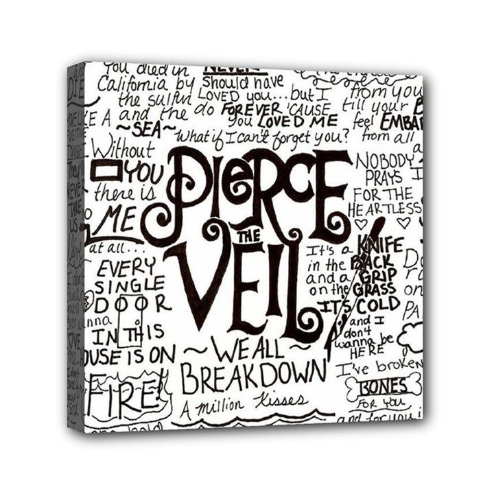 Pierce The Veil Music Band Group Fabric Art Cloth Poster Mini Canvas 6  x 6