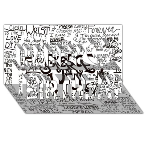 Pierce The Veil Music Band Group Fabric Art Cloth Poster Happy Birthday 3D Greeting Card (8x4)