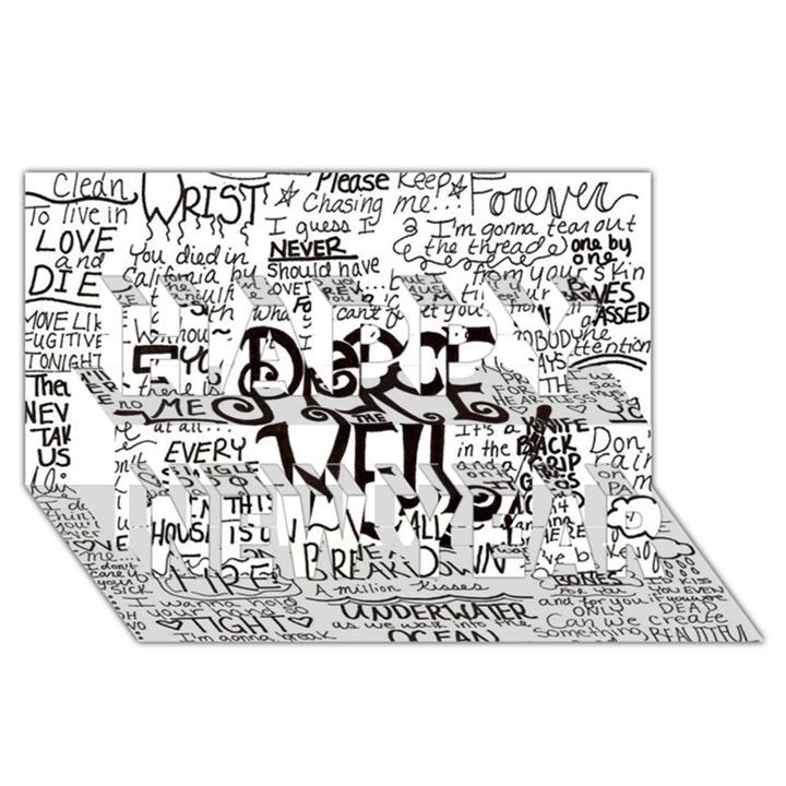 Pierce The Veil Music Band Group Fabric Art Cloth Poster Happy New Year 3D Greeting Card (8x4)