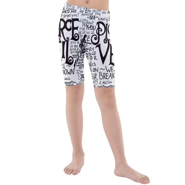 Pierce The Veil Music Band Group Fabric Art Cloth Poster Kids  Mid Length Swim Shorts