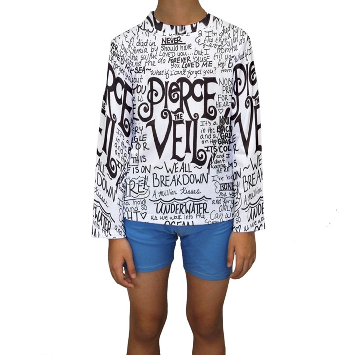 Pierce The Veil Music Band Group Fabric Art Cloth Poster Kids  Long Sleeve Swimwear