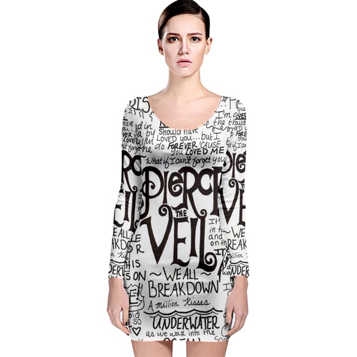 Pierce The Veil Music Band Group Fabric Art Cloth Poster Long Sleeve Bodycon Dress