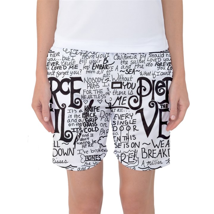 Pierce The Veil Music Band Group Fabric Art Cloth Poster Women s Basketball Shorts