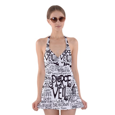 Pierce The Veil Music Band Group Fabric Art Cloth Poster Halter Swimsuit Dress