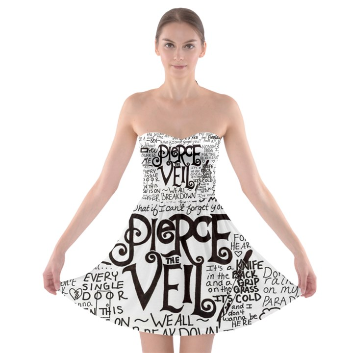 Pierce The Veil Music Band Group Fabric Art Cloth Poster Strapless Bra Top Dress