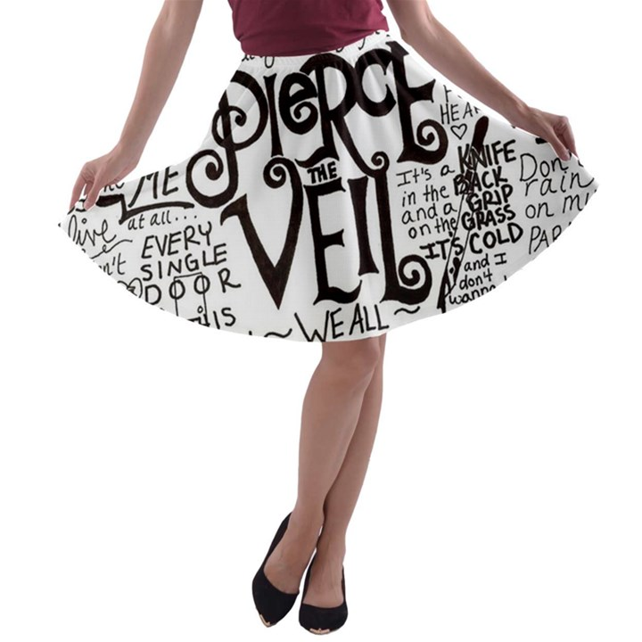 Pierce The Veil Music Band Group Fabric Art Cloth Poster A-line Skater Skirt