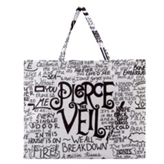 Pierce The Veil Music Band Group Fabric Art Cloth Poster Zipper Large Tote Bag