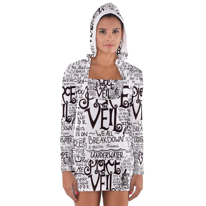 Pierce The Veil Music Band Group Fabric Art Cloth Poster Women s Long Sleeve Hooded T-shirt