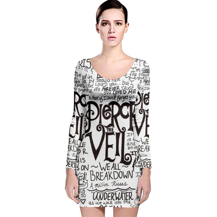 Pierce The Veil Music Band Group Fabric Art Cloth Poster Long Sleeve Velvet Bodycon Dress